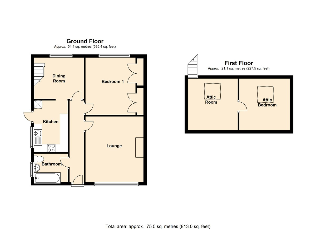 2 bedroom bungalow loft conversion for Bedroom loft plans