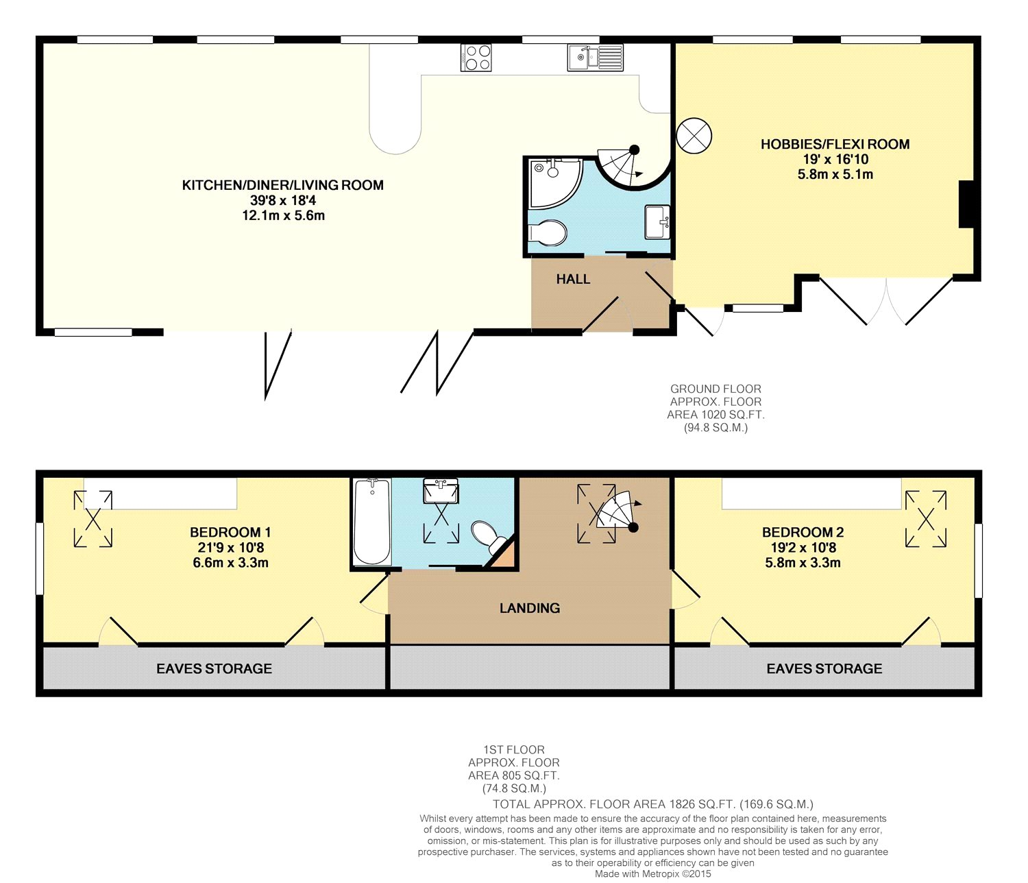 Floorplan of 2 bedroom Barn Conversion for sale